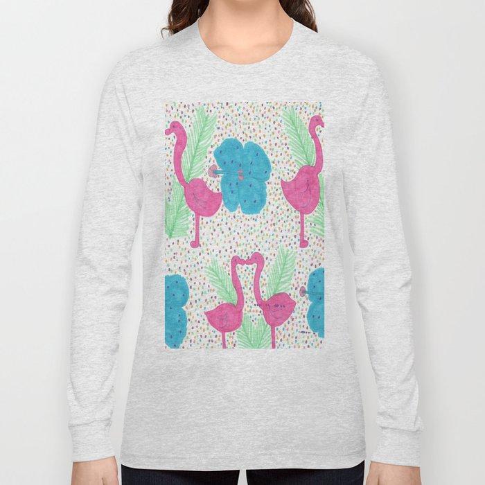 Flamingo Party Pattern Long Sleeve T-shirt