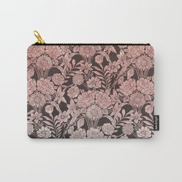 Elegant vintage black faux pink glitter floral pattern Carry-All Pouch