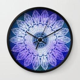 tie dye sunflower mandala in blues Wall Clock