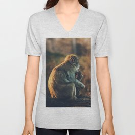 Macaque Motherly Love Unisex V-Neck