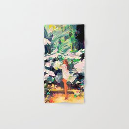 Live Quietly In a Corner Of Nature, Modern Bohemian Woman Jungle Forest Eclectic Painting Hand & Bath Towel