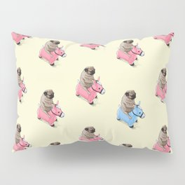 Pug and Pink Horse Pillow Sham