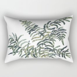 Woodland Fern Botanical Watercolor Illustration Painting Rectangular Pillow