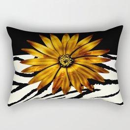 Animal Print Zebra Pattern Black and White Rectangular Pillow