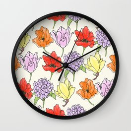 crowded floral Wall Clock