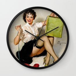 Pin Up Girl Wrapping Presents Wall Clock