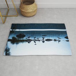 Beautiful Cranes by The Lake - Landscape in Blue hour #decor #society6 #buyart Rug