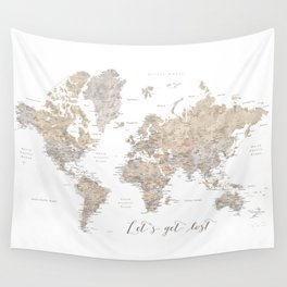 Let's get lost world map with cities in neutral watercolor Wall Tapestry