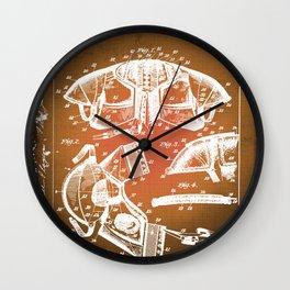 Football Shoulder Pads Patent Blueprint Drawing Sepia Wall Clock