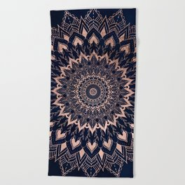 Boho rose gold floral mandala on navy blue watercolor Beach Towel