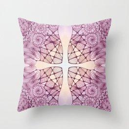 Vineyard Sunrise Zentangled Cross Tile Doodle Design Throw Pillow