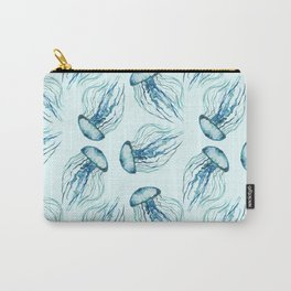 Aqua Watercolor Jellyfish pattern Carry-All Pouch