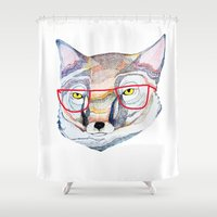 mr fox Shower Curtains featuring Mr Fox by Ashley Percival illustration