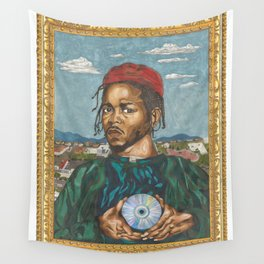 Portrait of a Rapper with the Album of the Year Wall Tapestry