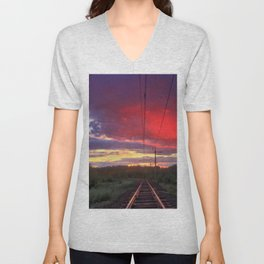 Northern sunset and a railway Unisex V-Neck