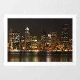 Seattle Skyline - Alki (No Color On Seattle Great Wheel) Art Print