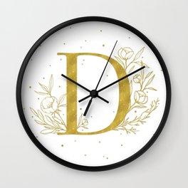 Letter D Gold Monogram / Initial Botanical Illustration Wall Clock