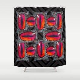 Black Color & Evil Red Dragons Eyes Shower Curtain