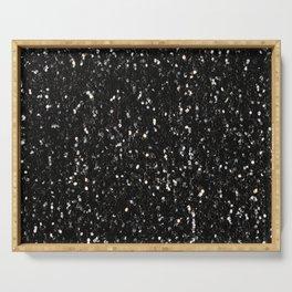 Black and white shiny glitter sparkles Serving Tray