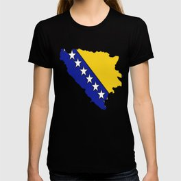 Bosnia and Herzegovina Map with Flag T-shirt