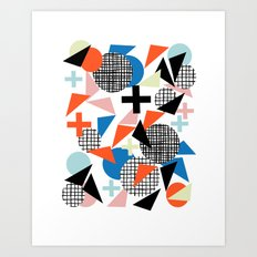 Kimbah - abstract art print shapes modern geometric retro cool colorful hipster gift idea dorm room  Art Print