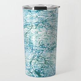 Green blue marble watercolor Travel Mug