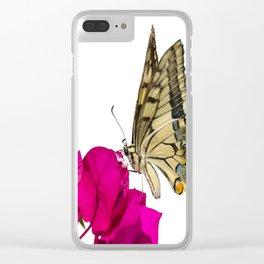 Swallowtail Butterfly On Bougainvillea Clear iPhone Case