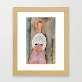 "Amedeo Modigliani ""Girl with a Polka-Dot Blouse (Jeune fille au corsage à pois)"" Framed Art Print"