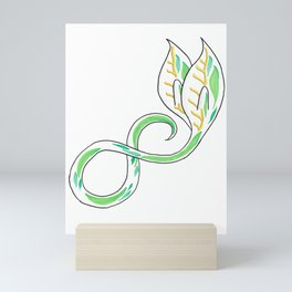 Green and Gold Infinity Seedling with Winged Leaves Mini Art Print