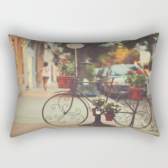 The bike with the flowers Rectangular Pillow
