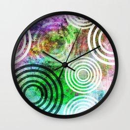 Grungy Green Circle Pattern Wall Clock
