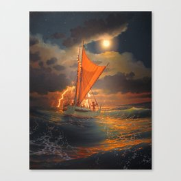 """The Mo'okiha O Pi'ilani - Sailing out in front of the storm in the moonlight""  Canvas Print"