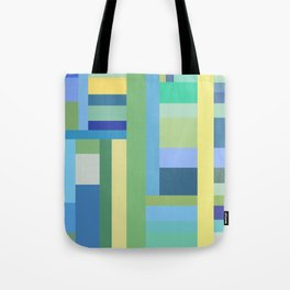 Abstract Blue Mint Green Geometry Tote Bag
