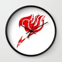 fairy tail Wall Clocks featuring Fairy Tail Segmented Logo by JoshBeck