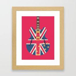 Union Jack Flag Guitar - Crimson Framed Art Print