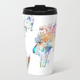 world map landmarks collage Travel Mug