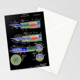 Vintage fountain pen patent black colorful art Stationery Cards