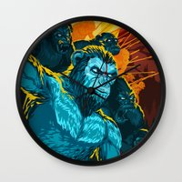 planet of the apes Wall Clocks featuring Dawn Of The Planet Of The Apes by KD Artwork