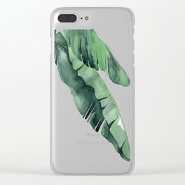 Tropical Island Leaves Pair Clear iPhone Case
