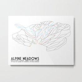 Alpine Meadows, CA - Minimalist Trail Art Metal Print