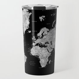 Black and grey watercolor world map with cities Travel Mug
