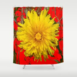 DECORATIVE  YELLOW DANDELION BLOSSOM ON ORGANIC RED ART Shower Curtain