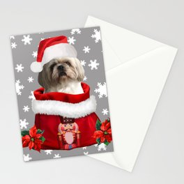 Top Model Paul - Shih tzu dog Santa Claus Stationery Cards