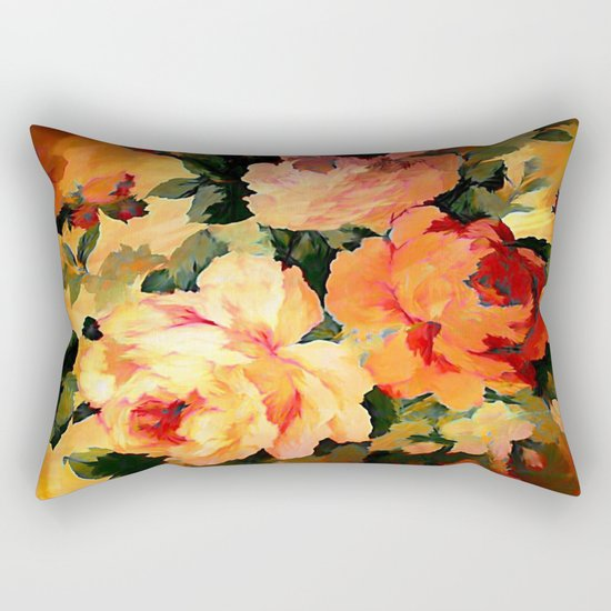 Vintage Painterly Floral Abstract Rectangular Pillow