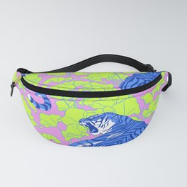 Neon Tigers and Water Lillies. Fanny Pack