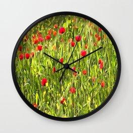 Flanders Poppies Wall Clock