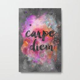 Carpe diem colorful watercolor handlettering Metal Print