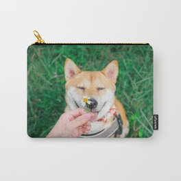 shiba with flower Carry-All Pouch