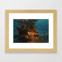 The Burning of a Turkish Frigate Framed Art Print