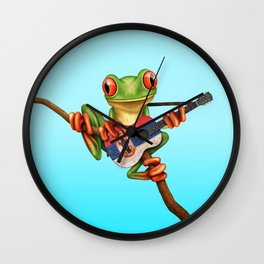 Tree Frog Playing Acoustic Guitar with Flag of Serbia Wall Clock